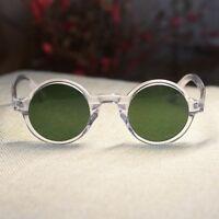 5a9f3d06f0 Round retro Johnny Depp sunglasses mens crystal frame green glass circle  lens