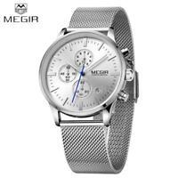 MEGIR Men Chronograph Quartz Watch Stainless Steel Mesh Band Wristwatch US Stock