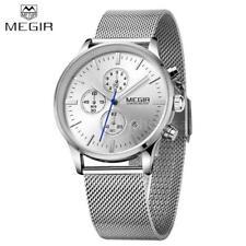 MEGIR Men Chronograph Quartz Watch Stainless Steel Mesh Band Wristwatch US  Stock e1cf21491d