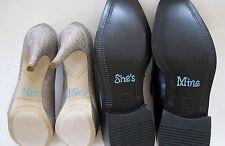 """Set di """"Lui è mio"""" """"She's Mine"""" con strass scarpa ADESIVI IN BLU-UK Venditore"""