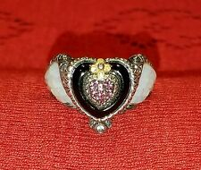 BARBARA BIXBY 18K 925 WINGED HEART RING SIZE 7 BEAUTIFUL CARVED MOP WING DETAIL