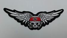 """1 PC WING/SKULL/IRON CROSS biker Emb patch, L.5-5/8"""" sew/iron-on"""
