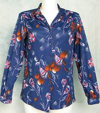 LADiES ViNTAGE 70s DiScO SHiNY BLUE GEOMETRiC OP ART FLORAL PRiNT TOP SHiRT M/L