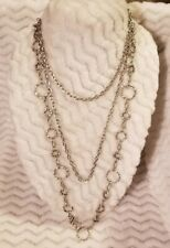 """Disk Chain 72"""" Plus Necklace Extra Long Unique Silver Tone Beautiful"""