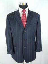 9766f462ca15 Hugo Boss USA Mens Navy Blue Gessato 3 Btn Einstein 2pc Suit 40 41s 33x28