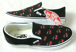 Vans Women's Classic Slip On Cherries Black Red White Canvas Shoes Size 8 NWT