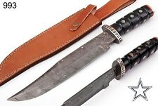 "16""HAND MADE DAMASCUS STEEL HUNTING  KNIFE & HORN W/DAMASCUS GUARD HANDLE 993"