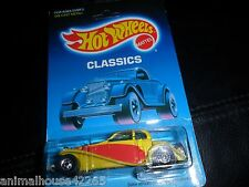 1988 Hot Wheels Classics Yellow 1937 Bugatti UNPUNCHED BLISTER PACKAGE & PROTECO