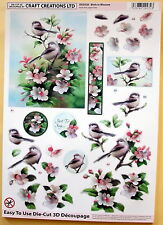 "A4 DIE CUT 3D PAPER TOLE DECOUPAGE ""BIRDS IN BLOSSOM"" SHEET NO CUTTING  DCD528"