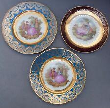 3 Limoges Gilded Porcelain Plates ~ Fragonard Lovers Scenes ~ 22cm / La Reine