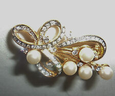 Gorgeous Gold-Toned Bow Knot Clear Rhinestones and Simulated Pearl Brooch/Pin