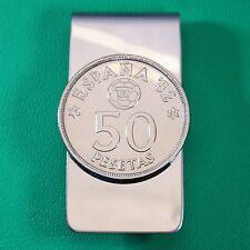 Spanish 1982 World Cup Coin Money Clip, Football Soccer Ball 50 Pesetas Spain EU