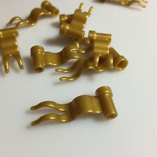 30x LEGO Pearl Gold Flags 4 x 1 Wave Pieces