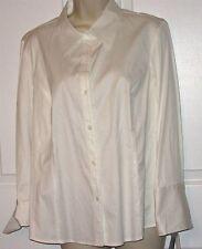 New NWT $58 Rafaella Womens 14 Cotton Blend White LS Blouse folded cuffs