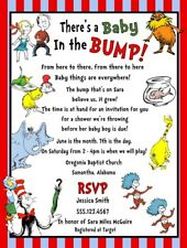 Dr Seuss Horton Thing 1 & 2 Cat Hat Baby Shower Party Invitations Personalized