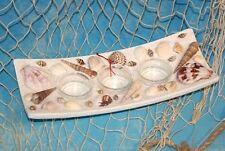 Kerzenhalter Teelichthalter für 3 Teelichter rechteckig maritime Deko ca. 24cm