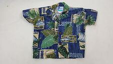 RJC Boys Hawaiian Shirt 18 Months Turtle Blue Brown Green SS