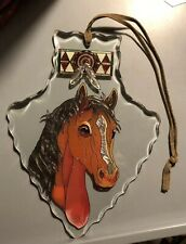UNIQUE ARROWHEAD SHAPED AMIA HAND PAINTED HORSE SUN CATCHER