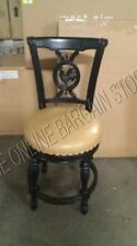 "Frontgate Provencal Rooster Swivel BLACK Barstool Chair COUNTER bar 24"" Leather"