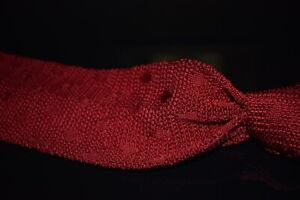 Anonymous Made in Italy Ruby Red Crunchy Knit Self Polka Dot Spotted Silk Tie NR