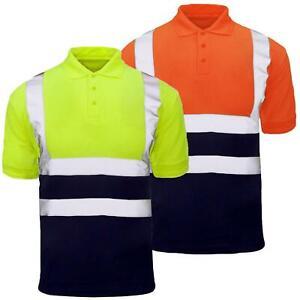Hi Viz Short Sleeve Reflective 2 Tone Polo Shirt Saftey Work Top