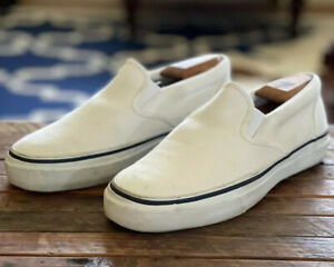 EUC Sperry Top-sider White Slip On Canvas Sneakers Boat Preppy Shoes 8.5 Men