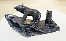 2 Wolves With Pup in Den - Aboriginal Soapstone carving For Sale