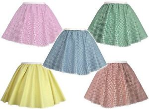 Childrens Gingham Skater Skirts Book Week Country Farm Girl Fancy Dress Age 6-12