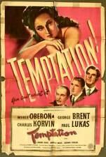Original 1946 MOVIE POSTER - TEMPTATION American FILM NOIR Bella Donna Thriller