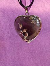 Beautiful Amethyst  Gemstone Silver Rose Heart Pendant Necklace T2681