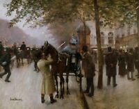 The Boulevards by Jean Beraud Fine Art Print on Canvas Giclee Small Decor 8x10