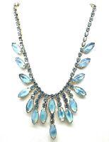 Vtg D & E Juliana Shades of Blue GIVRE Marquises & Rhinestones Bib Necklace