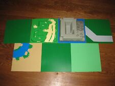 "7 LEGO Base Plate GREEN 2359 RIVER 4478 ROAD 2552 TERRAIN 6092 RAISED 10"" Lot"