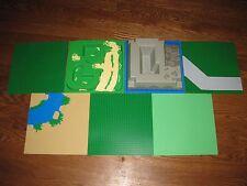 "7 LEGO Base Plate GREEN 2359 RIVER 4478 ROAD 2552 TERRAIN 6092 RAISED 10"" Lot"