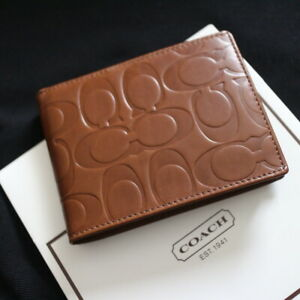 NWT COACH Men's Embossed Signature Saddle Brown Leather ID Bi-Folded Wallet NEW