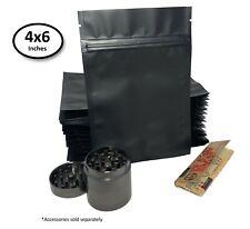 "New Premium Matte Black Double-Sided Mylar Foil Zip Lock Storage Bags 4x6"" [50]"