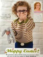 KNITTING PATTERN Childrens Bunny Rabbit Jumper Striped Sweater Girl Debbie Bliss