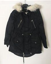 Miss Selfridge Black Fur Hood Parka Jacket Short Coat Sz 10  BNWT
