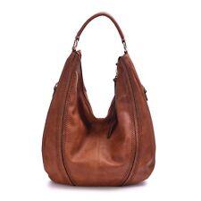 Large Hobo Handbags Leather Purse Shoulder Ladies Vintage Fashion Tote Bag Brown