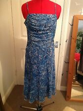 Pretty M & S PER UNA silky blue evening, party, event dress 12r vgc/ worn once