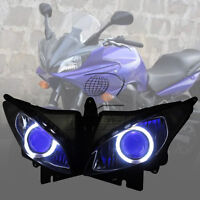 Headlight Assembly Blue Demon Angel Eye HID Projector Kit for Yamaha FZ6S 03-09