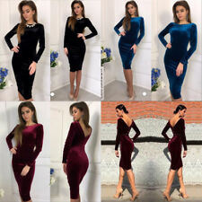 Lady Womens Long Sleeve Velvet Bodycon Backless Slim Midi Dress Cocktail Party