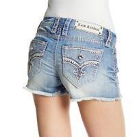 NEW $139 Rock Revival Womens Shorts 29 Jelina Distressed Faded Denim