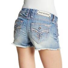 Rock Revival Womens Shorts 28 Jelina Distressed Faded Denim