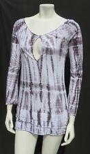 ZO USA White Gray Tie Dye Stretch 100% Cotton Knit ¾ Sleeve T Shirt Top sz XS S
