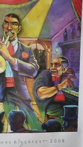 2008 Terrance Osborne New Orleans Old Algiers Riverfest Art Poster Jazz Trio #15