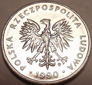 UNC Pologne 1990 5 Zlotych ~ Aigle Avec Ailes Spread Ouvert ~ Minted En Varsovie