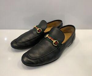Men's Gucci Loafers Dress Shoes Web Stripe Horsebit Sz Us 9 Black
