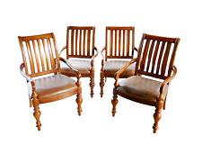 Spanish Revival Bernhardt Rustic Leather Cherry Wood Club Arm Chair Set Four