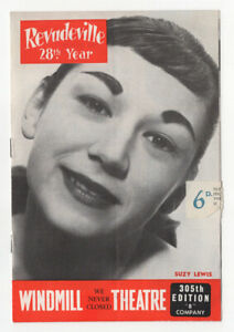 Windmill Theatre programme, Revudeville, 28th Year, Suzy Lewis, 1959